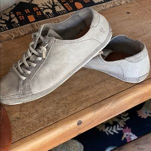 Gray leather sneakers